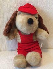 "16"" Vintage Plush Interpur Korea Dog Red Corduroy Overalls"