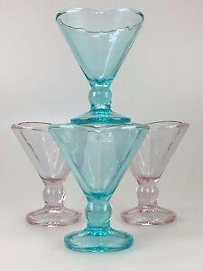 4x-60er-70er-Jahre-Eisbecher-Glas-Eisschale-Glasschale-Bunt-Space-Age-Design