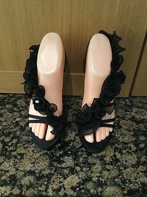 SCHUH BLACK FRILLY EVENING SANDALS / SIZE 3 / WORN ONCE / GOOD CONDITION