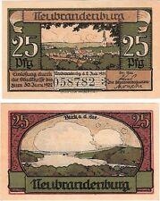 Germany 25 Pfennig 1921 Notgeld Neubrandenburg AU-UNC Banknote