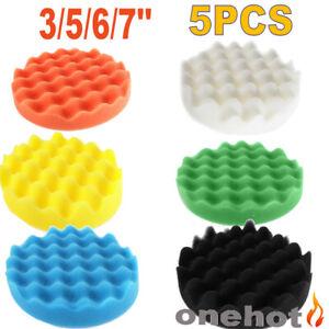 "5pcs 6/"" 7/"" Waffle Sponge Buffing Polishing Pads Kit Car Polisher Buffer Wave"