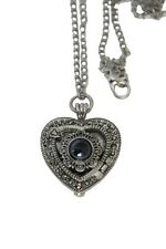 Silver Heart Shape Marcasite Vintage Necklace Pendant Metal Watch Water Pearl