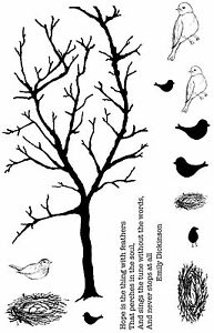 Unmounted-Rubber-Stamps-Tree-amp-Birds-Spring-Branch