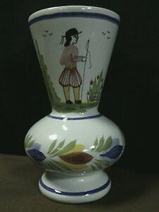 Vtg-Lovely-Henriot-Quimper-France-Hand-Painted-Breton-Floral-Vase-Signed-France