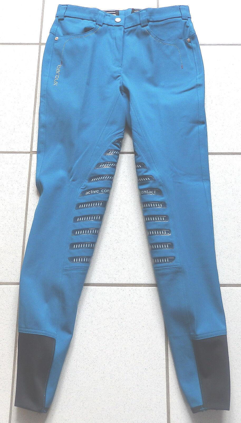 Baroux Oliva Damen Reithose, Gripkniebesatz, blau, Gr.80, schmaler Bund  (4447)