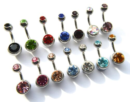 10 X Doble Gema De Cristal De Piercing Para Ombligo-Pequeño bar 6 Mm