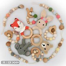 Baby Rattle Teether dummy Lanyard 3pc Gift Set Crochet Wooden Organic Animal