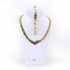 Stainless Steel Gold Tone I LOVE YOU Hugs & Kisses Set XO Necklace & Bracelet 18