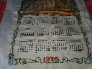Vintage 1976 Linen Calendar Kitchen Tea Towel