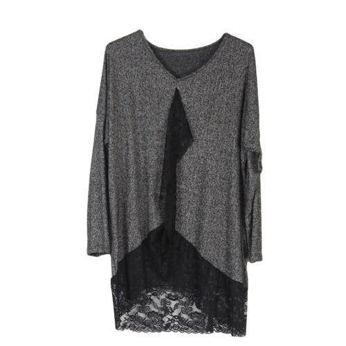 Wolfairy Womens Italian Lagenlook Tunic Jumper Top Lace Hem Blouse Plus Size
