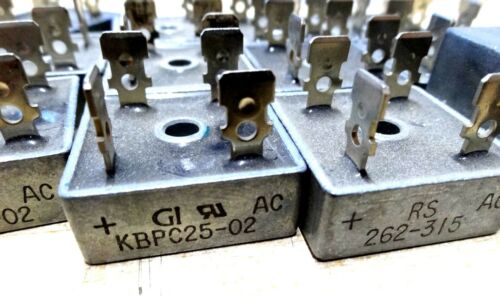 pack of 13 KBPC25-02 25A 200v bridge rectifiers