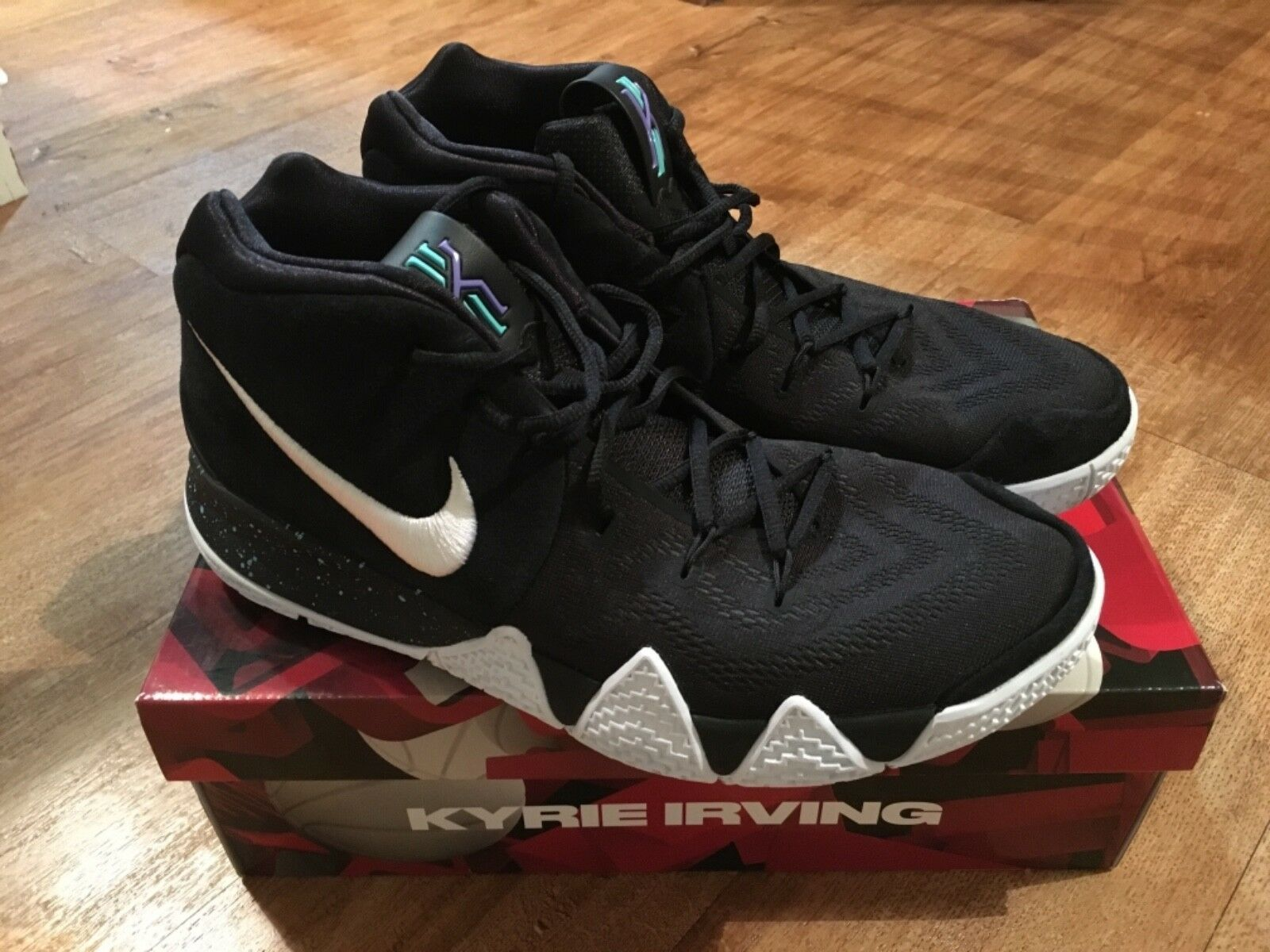 7cdcb356bcdfb Nike Kyrie 4 Size 12 Black White Performance Basketball shoes Pre-Owned