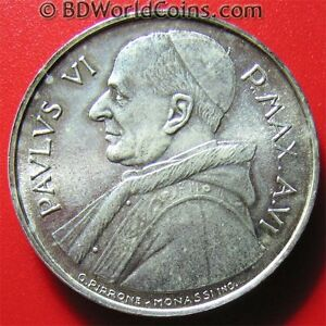 ND-1968-VATICAN-500-LIRE-SILVER-PAUL-VI-FAO-SERIES-COLLECTABLE-WORLD-COIN-29mm