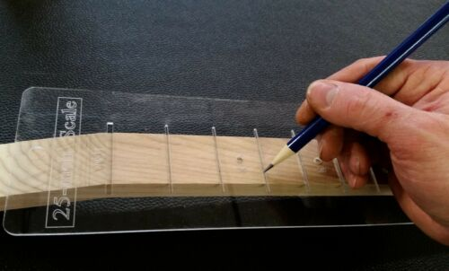 """Laser-cut Acrylic 25.5/"""" Fretting Scale Marking Template for Guitars"""