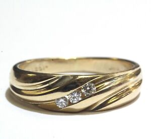 14k-yellow-gold-12ct-VS-G-diamond-mens-3-stone-wedding-band-ring-3-8g-gents
