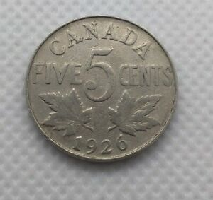 1926-NEAR-6-ONE-CANADA-FIVE-CENTS-NICKEL-VG-to-F-one-piece-FREE-CDN-SHIPPING
