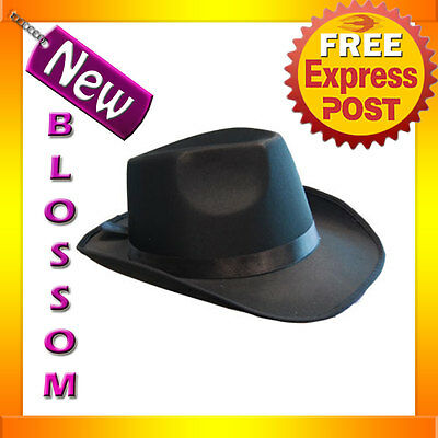 AS82 Mens Womens Black Satin Fedora Hat Gangster 1920s Party Costume Accessory