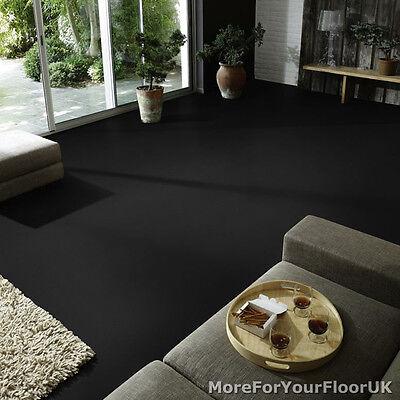 Plain Black Vinyl Flooring - Non Slip Quality Lino, 3m