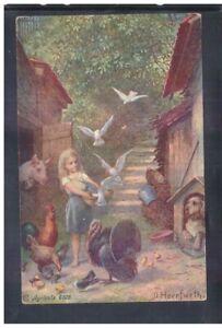 Cartolina-illustratore-Herrfurth-Agricolo-6028-Bambina-Tacchino-Animali-YA97