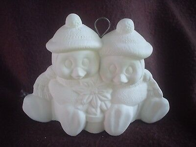 Penguin Cuddle Couple 7 w Ceramic Bisque Ready to Paint