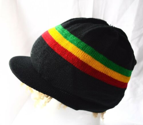 Rasta Bonnet avec bouclier /_ drealock a Knitted with visor /_ Natty Cap /_ le reggae