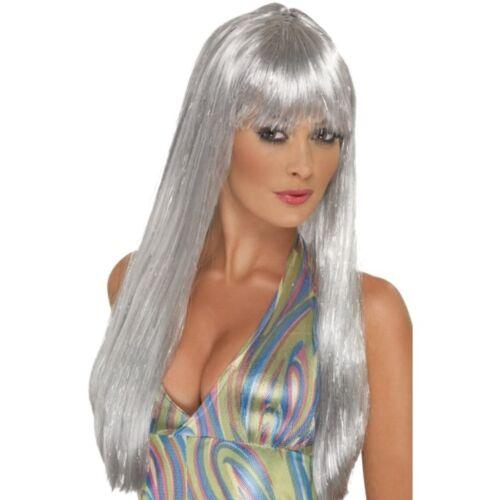 Womens Long Silver Glitter Disco Wig Gray Straight Hair Costume Halloween Adult