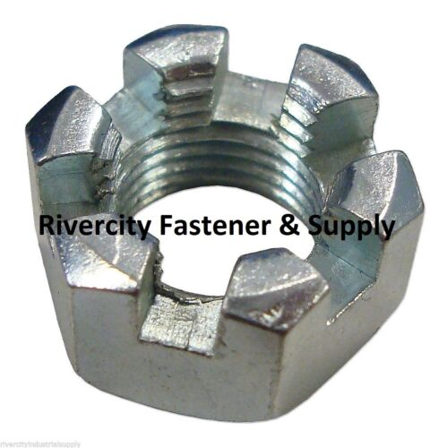 50 1//2-20 Slotted Hex Castle Nut Zinc Plated 1//2 x 20 Fine Thread 50 Pack