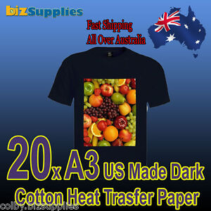20x-A3-Cotton-T-Shirt-Heat-Transfer-Paper-For-Dark-Color-Shirts-Iron-On