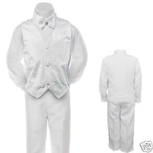 Baby-Boy-Toddler-Christening-Baptism-Formal-Vest-Suit-white-sz-0-M-7-years-old