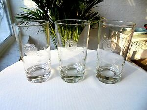 Set-of-3-Vintage-Clear-Crystal-Highball-Glasses-Romanian-Etched-Rose