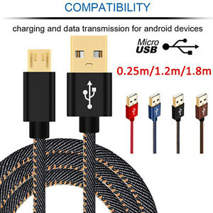 1-4-6FT-Denim-Braided-Gold-Plug-Micro-USB-2-0-Fast-Charger-Data-Sync-Cable-Lead