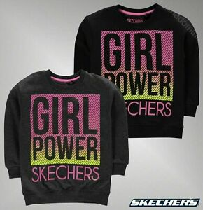 Le-ragazze-di-marca-Skechers-Cotone-Maniche-Lunghe-Top-Graphic-Crew-Felpa-Taglia-4-9-anni