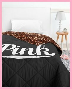 Victoria-Secret-Pink-BED-IN-A-BAG-Black-Leopard-COMFORTER-SHEET-PILLOW-CASE-TWIN