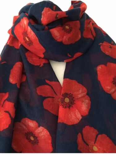 Wrap Shawl Blue Poppy Scarf Scarves