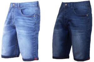 Mens-Denim-Shorts-Stretch-Slim-Fit-Regular-Half-Jeans-Shorts-Dark-Blue-Light