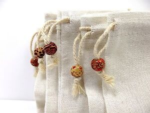Gift-Bags-Burlap-Natural-Linen-Jute-Jewellery-Unique-Pouch-Wood-Bead-Drawstring