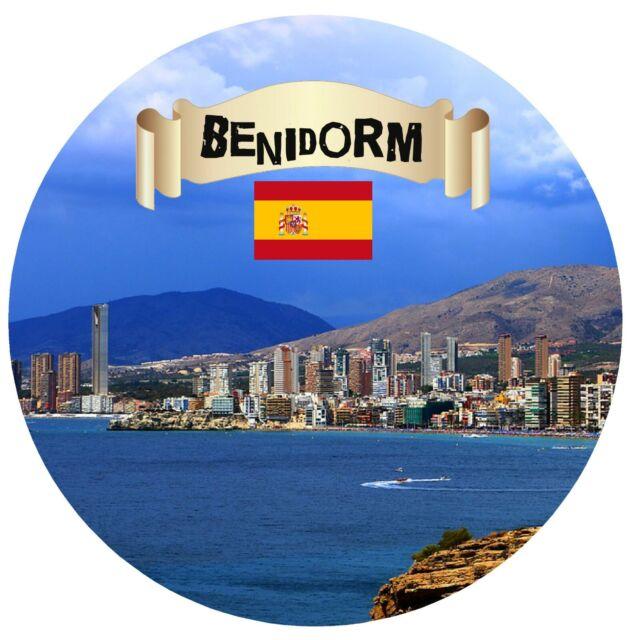 Benidorm,España - Redondo Recuerdo Imán de Nevera - Monumentos/ Banderas/ /