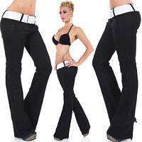Womens Ladies Stretch Denim Boot Cut Jeans Trousers Black Sizes 6 8 10 12 14