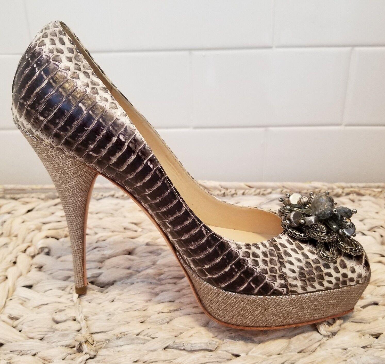 OSCAR DE LA RENTA LIZARD PLOTORM HEELS  scarpe CON CRYSTAL BAUBLES NWOB 7.5  790  compra nuovo economico