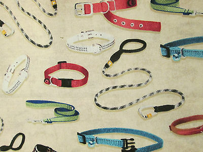 COLLARS LEASHES DOGS CATS CREAM COTTON FABRIC BTHY