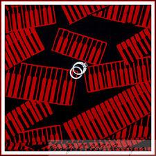 BonEful Fabric FQ Cotton Quilt BATIK Music L Keyboard Piano ELVIS Band Black Red