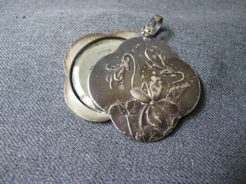 Antique 1890/'s English Victorian Sterling Silver Aesthetic Hand-Engraved Birds 17 mm Round Pendant