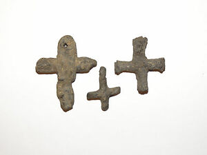 Three-ancient-Byzantine-lead-cross-Byzantium-a-5-7-AD