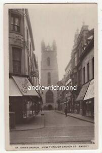 Cardiff-St-Johns-Church-View-Through-Church-Street-Vintage-RP-Postcard-164c