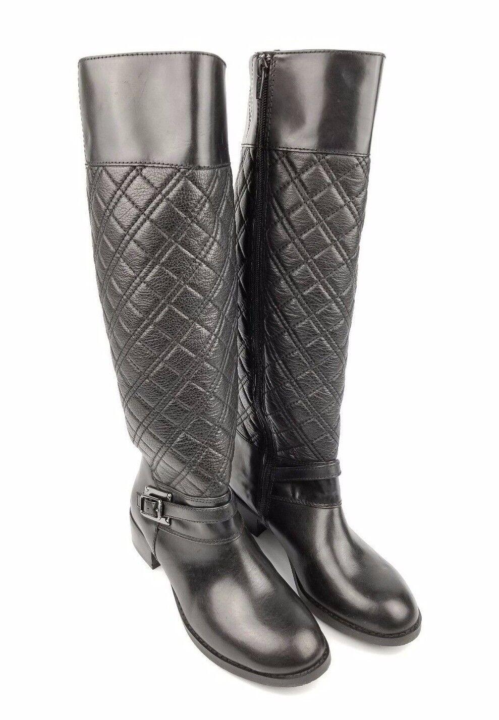 Alex Marie Sz 6 M Genuine Leather Black Diamond Stitching Knee High Boots HGD