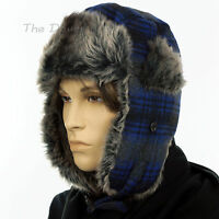 APT. 9 Men's BLUE BLACK & GREY PLAID TRAPPER HAT with GRAY Faux Fur WINTER CAP