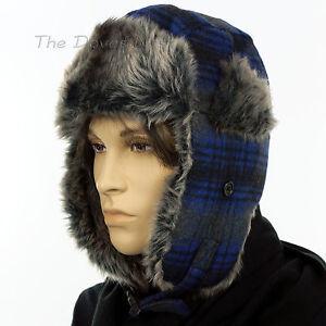 9 Men s BLACK   BLUE PLAID TRAPPER HAT with GRAY Faux Fur WINTER CAP 92dda9a41e6