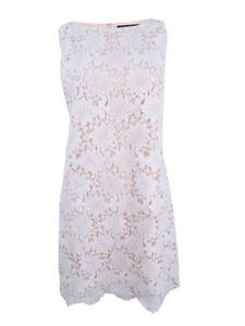 Jessica-Howard-Women-039-s-Lace-Overlay-Dress-12-White