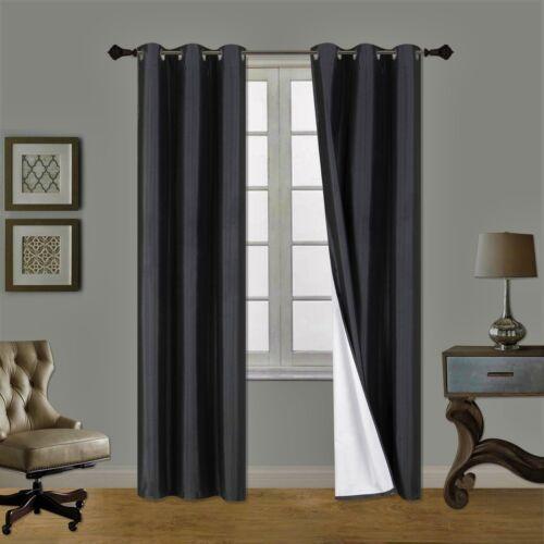 2PC BLACK ADAM Foam Lined Heavy Thick Blackout Grommet Window Curtain Panels