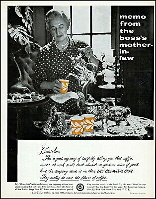 Merchandise & Memorabilia 1950-59 1958 Boss's Mother-in-law Lily China-cote Cups Vintage Photo Print Ad Adl79
